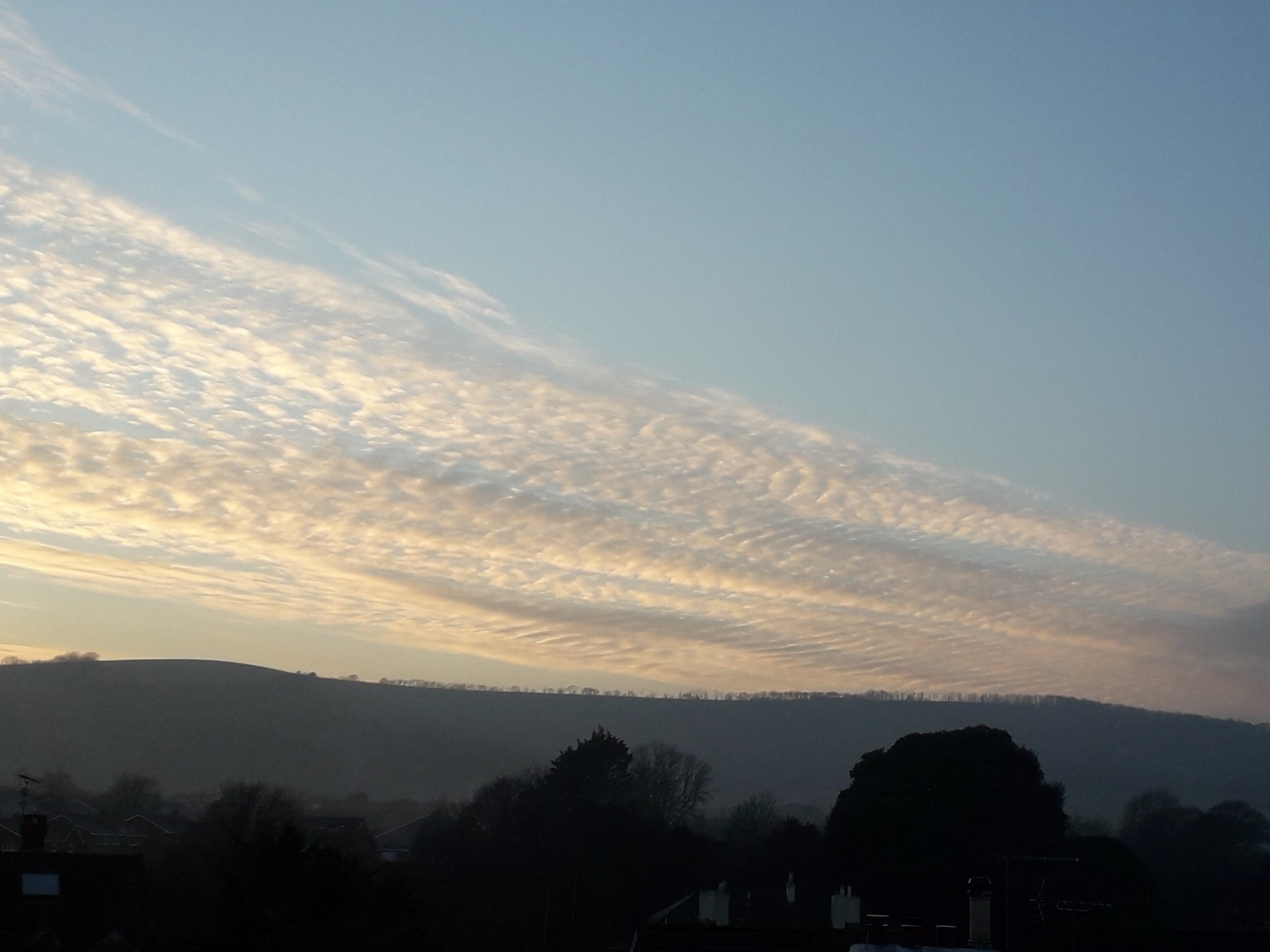 The bigger picture - winter sunset. Taken from my home, 8 January - looking towards the Downs.